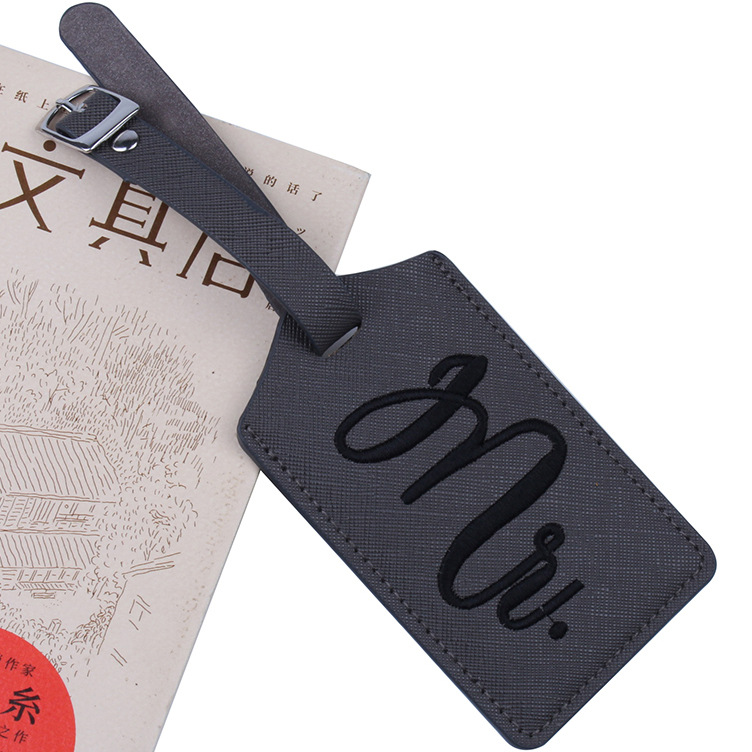 Custom Novel Printed Gold Imprint Wedding Escort Favor Mr and Mrs PU Leather Luggage Tag