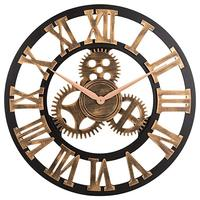 MDF 60cm Dia Circular Roman Numerals Mechanical Rustic Wooden Gear Wall Clock