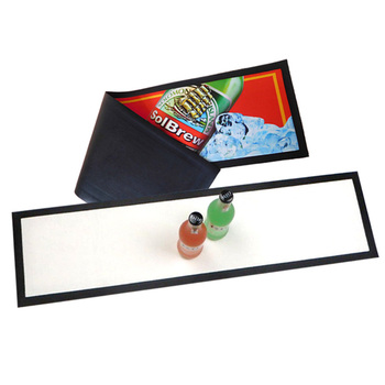 Blank customized nitrile rubber bar mat, non woven fabric rubber sublimation bar runner for promotions