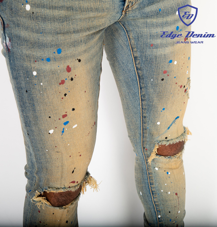 Edge Denim Custom Skinny Jeans Trousers Ripped Distressed Western Red White & Blue Paint Splash Denim Jeans China Factory