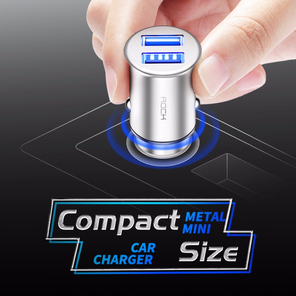 ROCK 5V 4.8A Metal mini Dual USB Car Charger for iPhone Samsung Mobile Phone Fast Car Phone USB Travel Charger