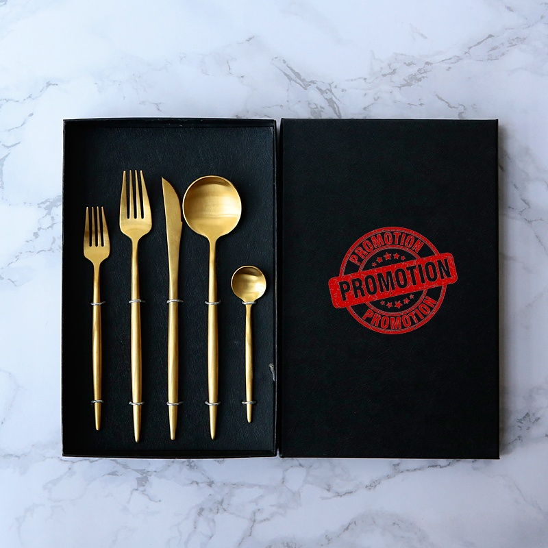 High quality Stainless steel 304 gold flatware, matte gold spoon fork knife cutlery <strong>set</strong>