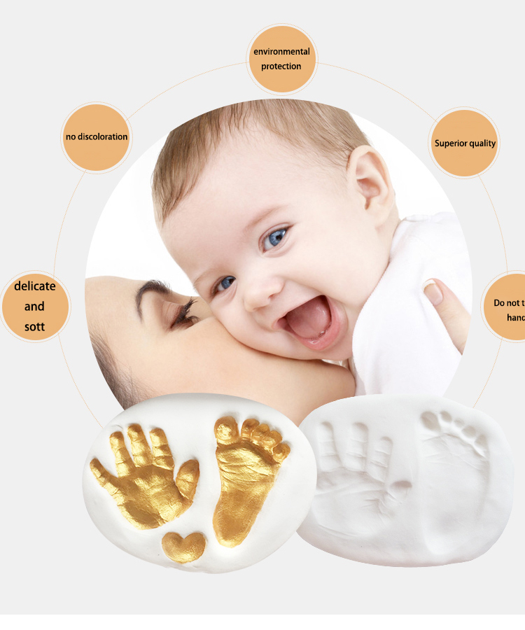 Gifts Souvenirs Non-toxic Infant Imprint Baby Handprint Wood Photo Frame Baby Footprint Frame For Home Decor