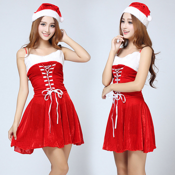 Sexy red christmas santa claus girl dress velvet bustier Christmas Boutique dress