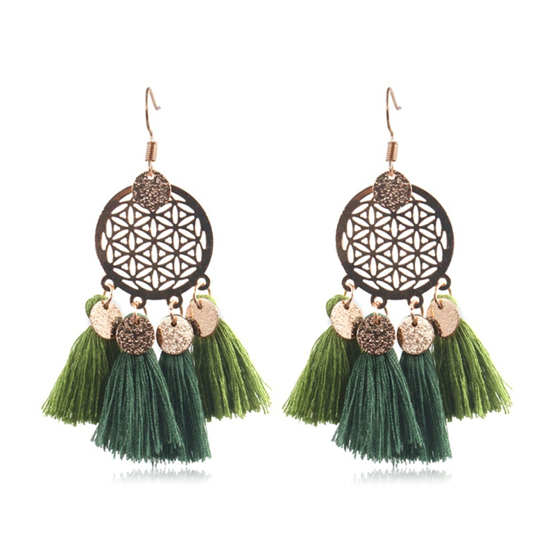 European and American Bohemian Geometric Sequin Circle Tassel Earrings