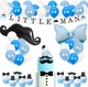 Umiss Paper Little Man Mustache Party Supplies with Paper Banner, Cake Topper for Gender Reveal Birthday Decorations