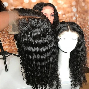 5x5 Lace Closure Human Hair Wig Unit 100% Human Hair Lace Wigs Deep Curly 180% 210% Density Natural Black Color
