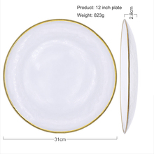 7-Pieces Wedding Event Party Glass Dinnerware Sets High-end Gold Chargers <strong>Plate</strong> Dinner Set