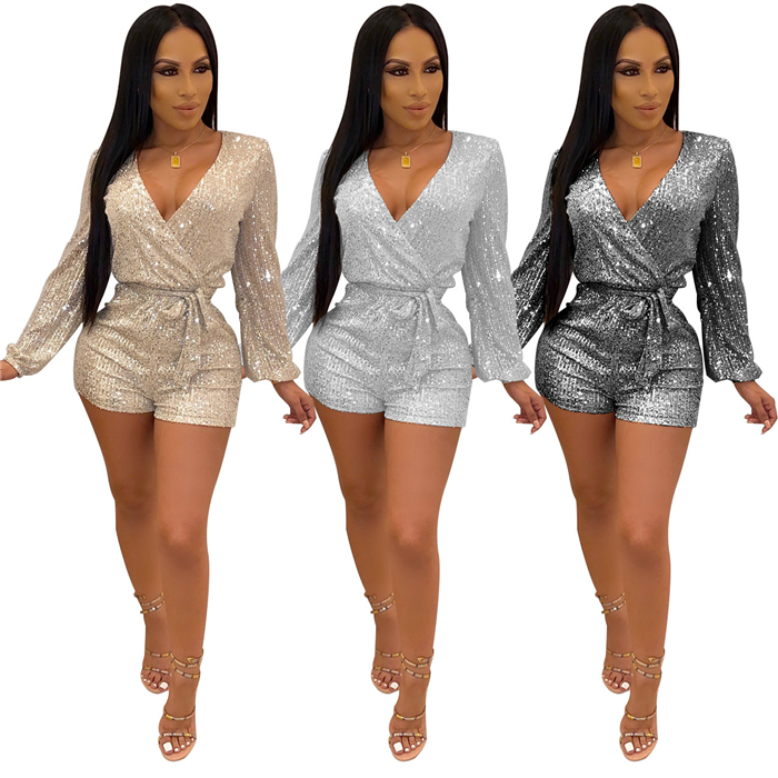Hot sale fashion Sequin V-Neck long sleeve Jumpsuit Bodysuit with <strong>belt</strong>