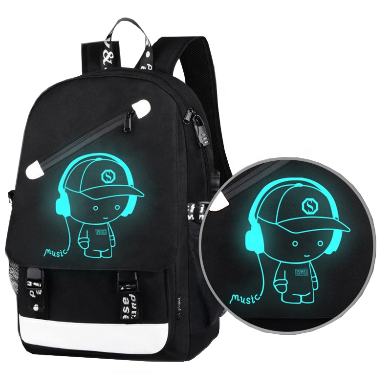 2019 NEW Designer Fashion Luminous School Bags Shoulder Day Pack Anti Theft Laptop <strong>Backpack</strong> with USB Charging Port