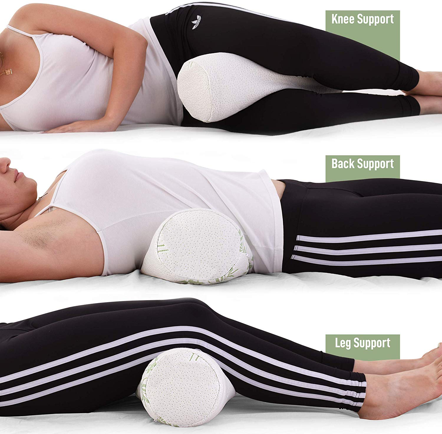 Neck Roll Pillow Cervical Bolster with Bamboo Cover Memory Foam Spine Lumbar Traction Spondylosis Support