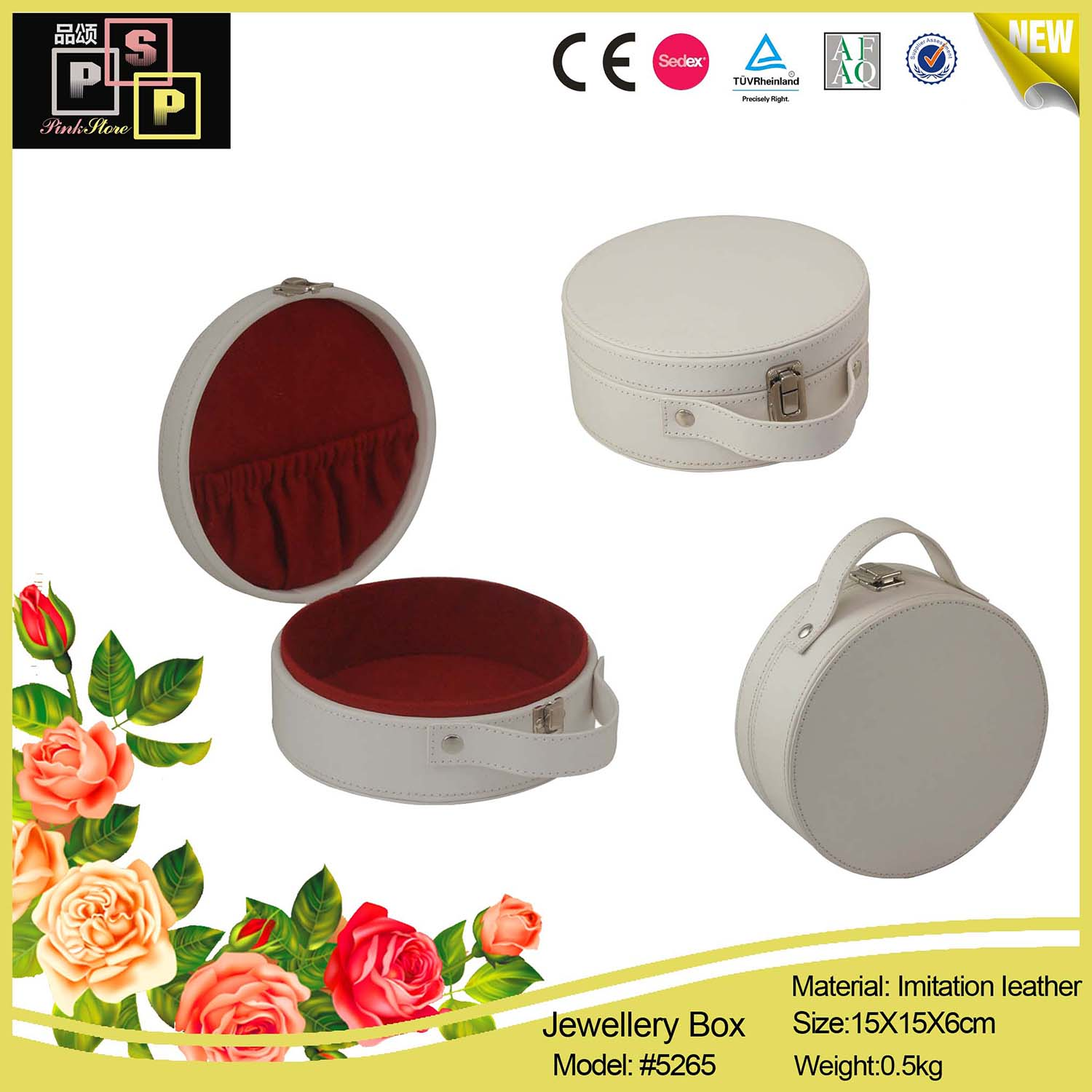 Handmade round portable leather jewelry storaging gift box with handle