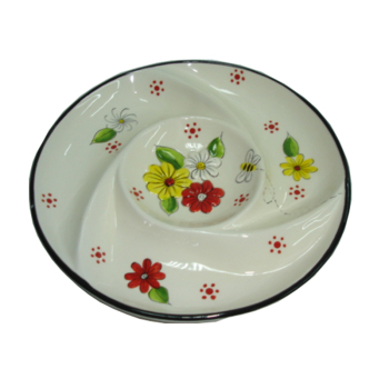Decorative Ceramic Tea Party Platter 3 Divided Party Serving Food Dessert Fruit Dish Plate