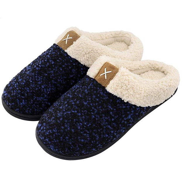 Women's Cozy Memory Foam Slippers Fuzzy Wool-Like Plush Fleece Lined House Shoes <strong>w</strong>/Indoor, Outdoor Anti-Skid Rubber Sole