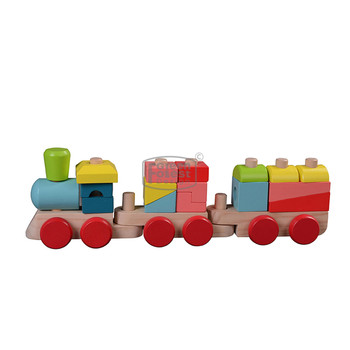 Kindergarten Wooden Toy Stacking Train Educational Pine wood Toy Train