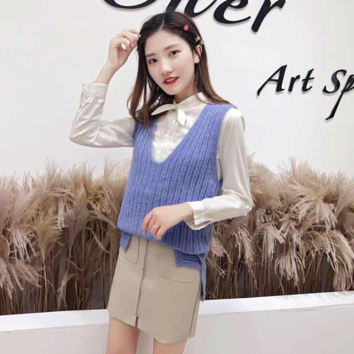 Autumn Winter Knit Sleeveless Vest Female College Style Versatile Sweater