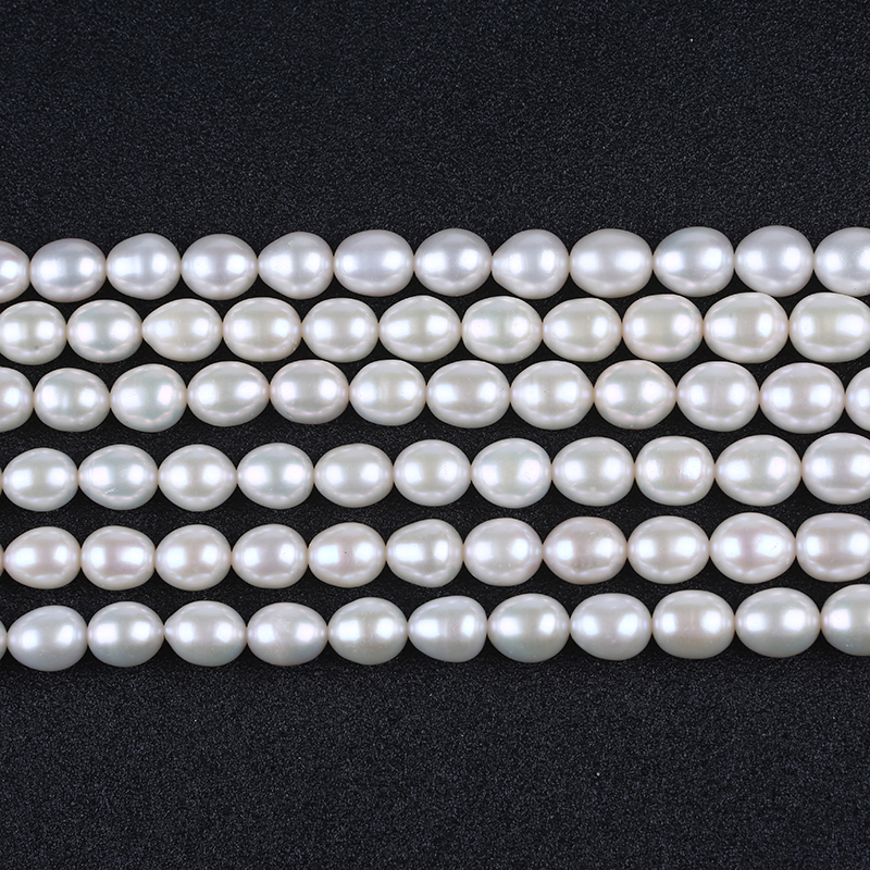 9-10mm AAA Pearl Natural White Rice Freshwater Pearls Strands