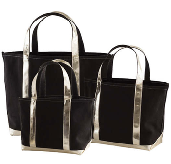 Black Canvas Gold Tote Bag