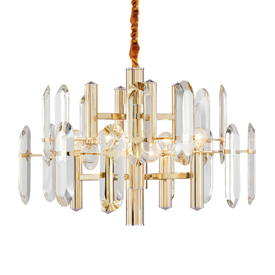 Modern light luxury chandelier restaurant golden crystal creative simple atmosphere designer <strong>lamps</strong>