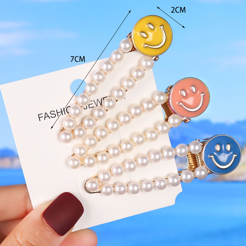 WYH003 Trade Assurance Fashion Drop Oil Smiling Face Hairclip Temperament Pearl Women Hair Clips Simple Metal Headwear