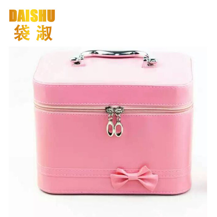 Professional Pink Artist PU Leather Makeup <strong>Case</strong> Beauty Cosmetics <strong>Case</strong> Hard Make Up Box With Bowknot