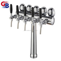 BTNO.1010098 Brass chrome plated 5 way beer tower for beer chiller with led light