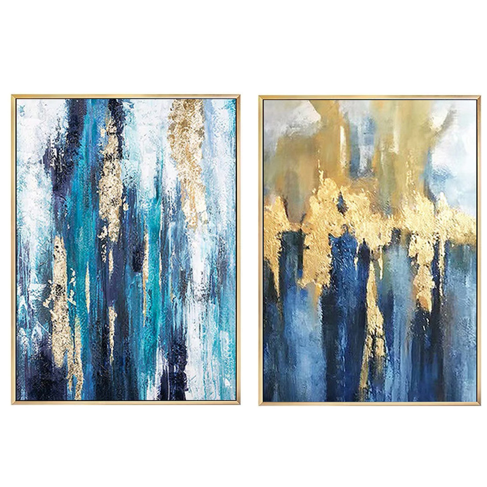100% handpainted abstract modern oil painting on canvas grey blue gold foil artwork wall art for home hotel decora wholesaler