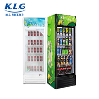 228L open door upright fridge display single tempered glass showcase