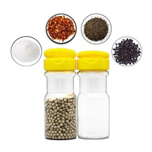 Dongguan manufacturer 100ml transparent PET plastic red chili powder shaker bottle and black pepper powder packaging round jar