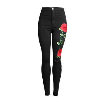 High Waist Women Jeans Ripped Flower Embroidery Skinny Sexy Casual Jeans Plus Size Black