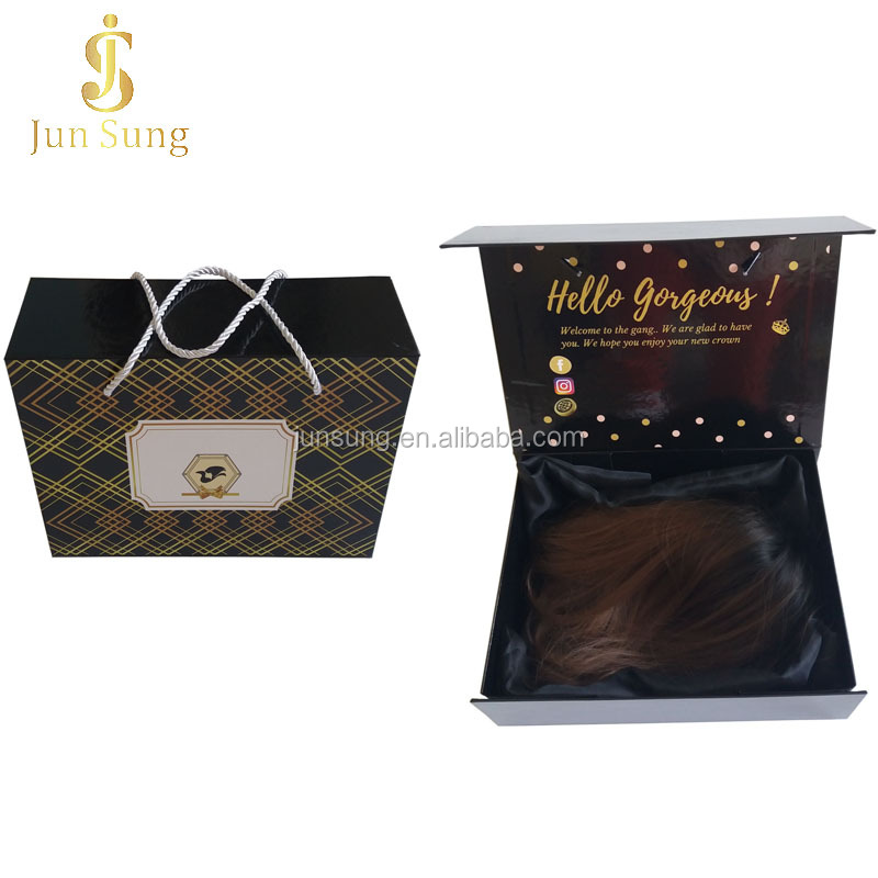 China Custom Hair Extension Wig Bundle Boxes Hair Packaging with Satin Lining