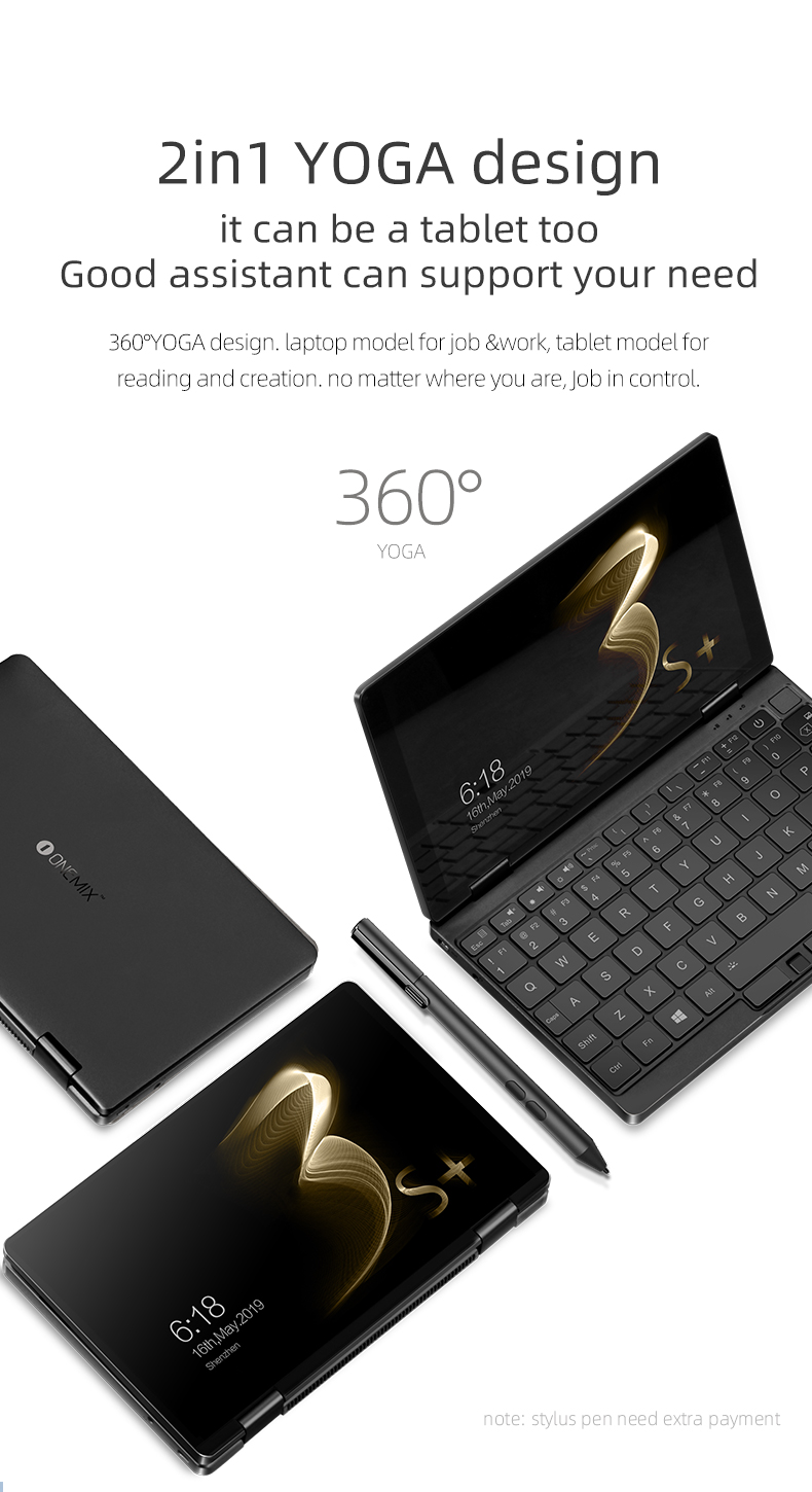One-netbook onemix 3s plus intel core i3-10110Y 8GB 256GB SSD 2560*1600PIX support stylus  8.4inch mini laptop