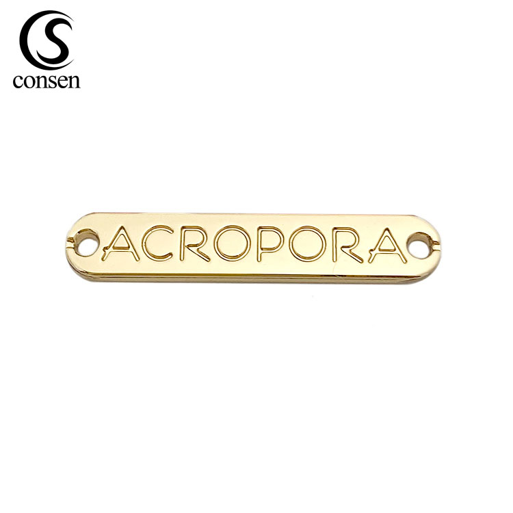 OME free sample personalized brand name punch logo label metal tag to sew