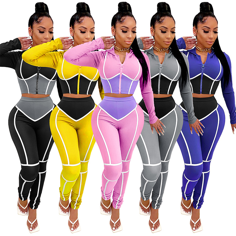 2020 Fall Fashion Woman Clothes Round Neck Crop Top High Waist Pants Two Piece <strong>Set</strong>