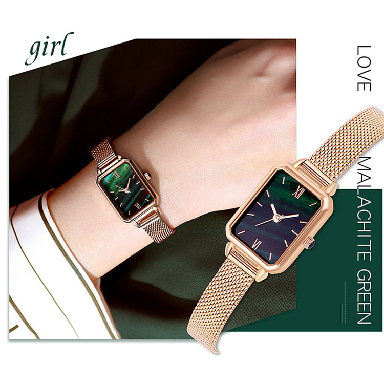 Cheap Alloy Case Leather and Mesh Strap Available Vintage Quartz Square Women Watches