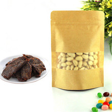 In stock wholesale nuts packaging stand up zipper kraft <strong>paper</strong> bag