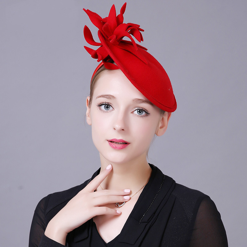 Autumn  British High Quality Woolen Vintage Banquet Noble Ladies Headdress Top Hat