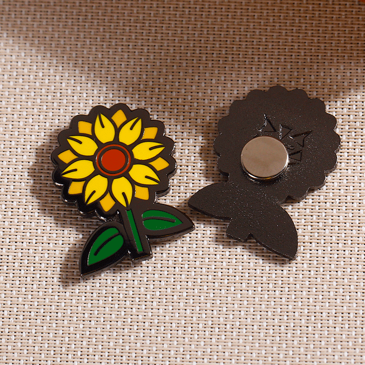 Wholesale cheap discount custom sunflower metal logo hard enamel stickers pin