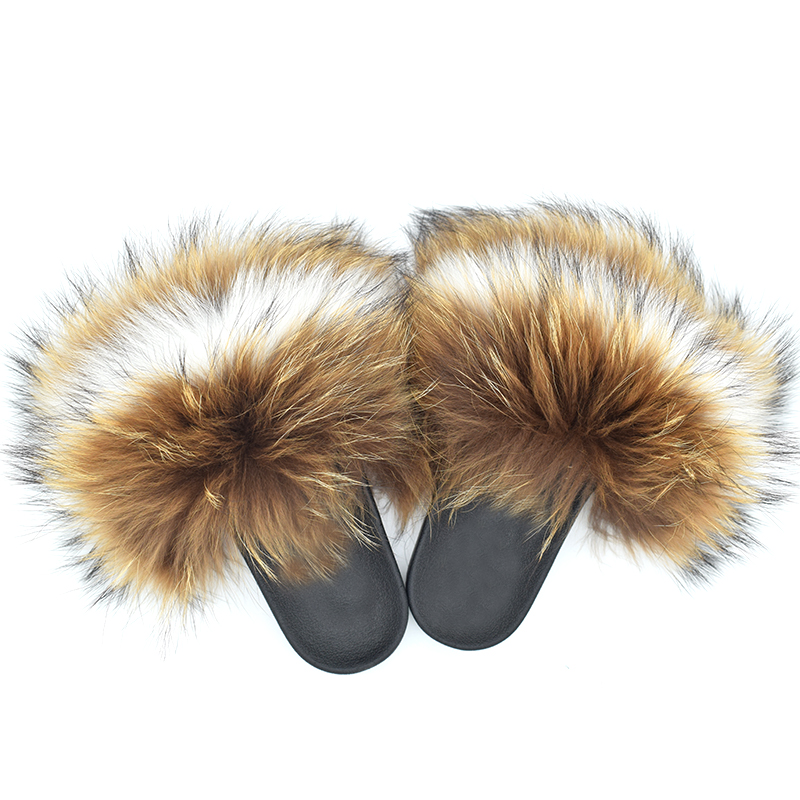 Cheap Big Furry Soft Fox Fur Slippers Brown Raccoon Fur Slides Sandals on <strong>Sale</strong> Matching Jelly Purse Bags for Women