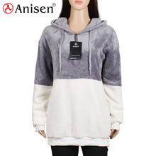 new design personalized grey and white combination outdoor fleece jacket for women