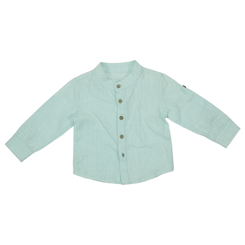 Wholesale Boys clothing spring summer cotton fancy button down light blue linen latest boy kids shirt