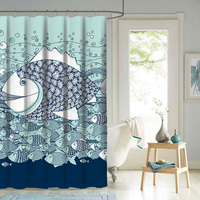 Customized design water repellent anti-mildew vibrant print polyester shower curtain
