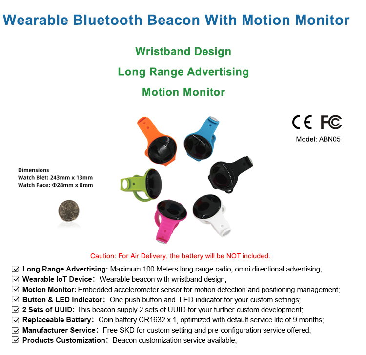 Waterproof BLE Low Energy iBeacon Wristband Wearable With Accelerometer