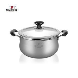22 CM retail SUS304 stainless steel soup milk pot single bottom stock pot with and glass Lid Riveted and double bakelite handle