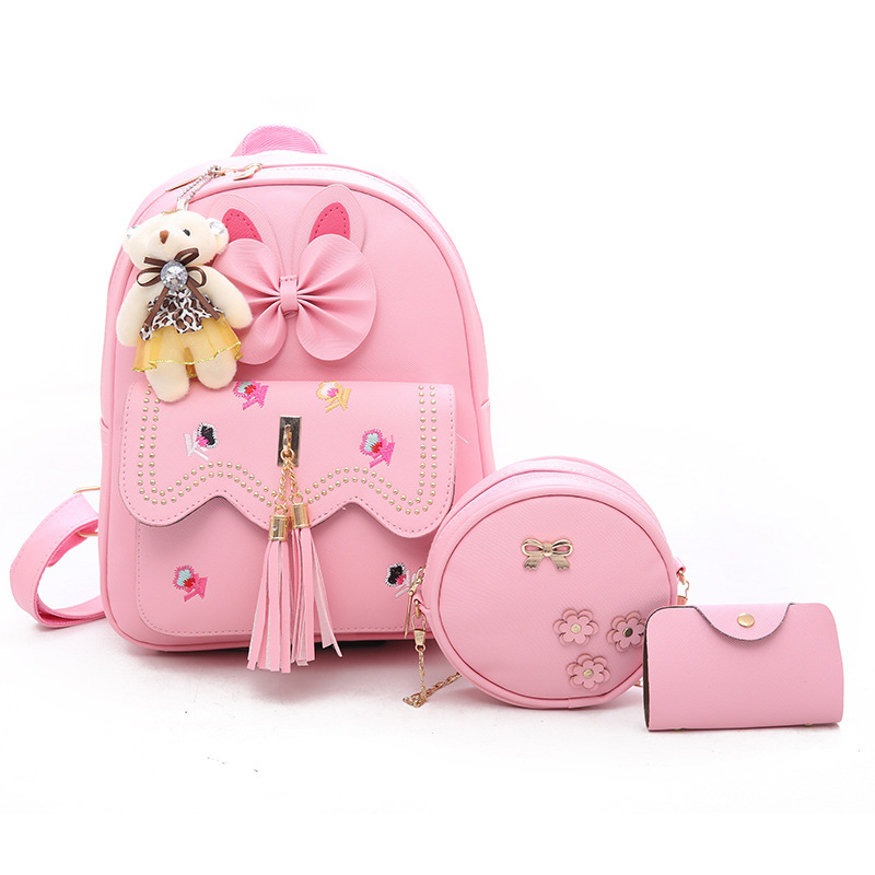 High Quality New Stylish Pu Leather <strong>3</strong> Sets Bags Backpack School Backpacks Girls