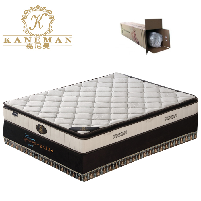 pillow top natural latex foam pocket spring mattress rolled in carton box - Jozy Mattress | Jozy.net