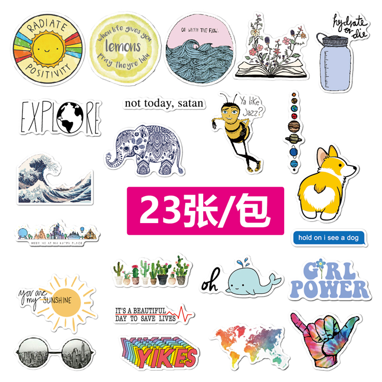 23 Pcs/Pack Waterproof Removable Luggage Skateboard Bicycle Laptop Stickers/Sticker