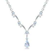Abiding Natural Sky Blue Topaz Luxury Fahion 925 Sterling Silver Statement Pendant Jewelry <strong>Necklace</strong> Women
