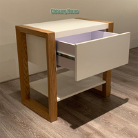 Mdf Board Wood Storage Bed Side Table Night Stand With Drawer For Bedroom