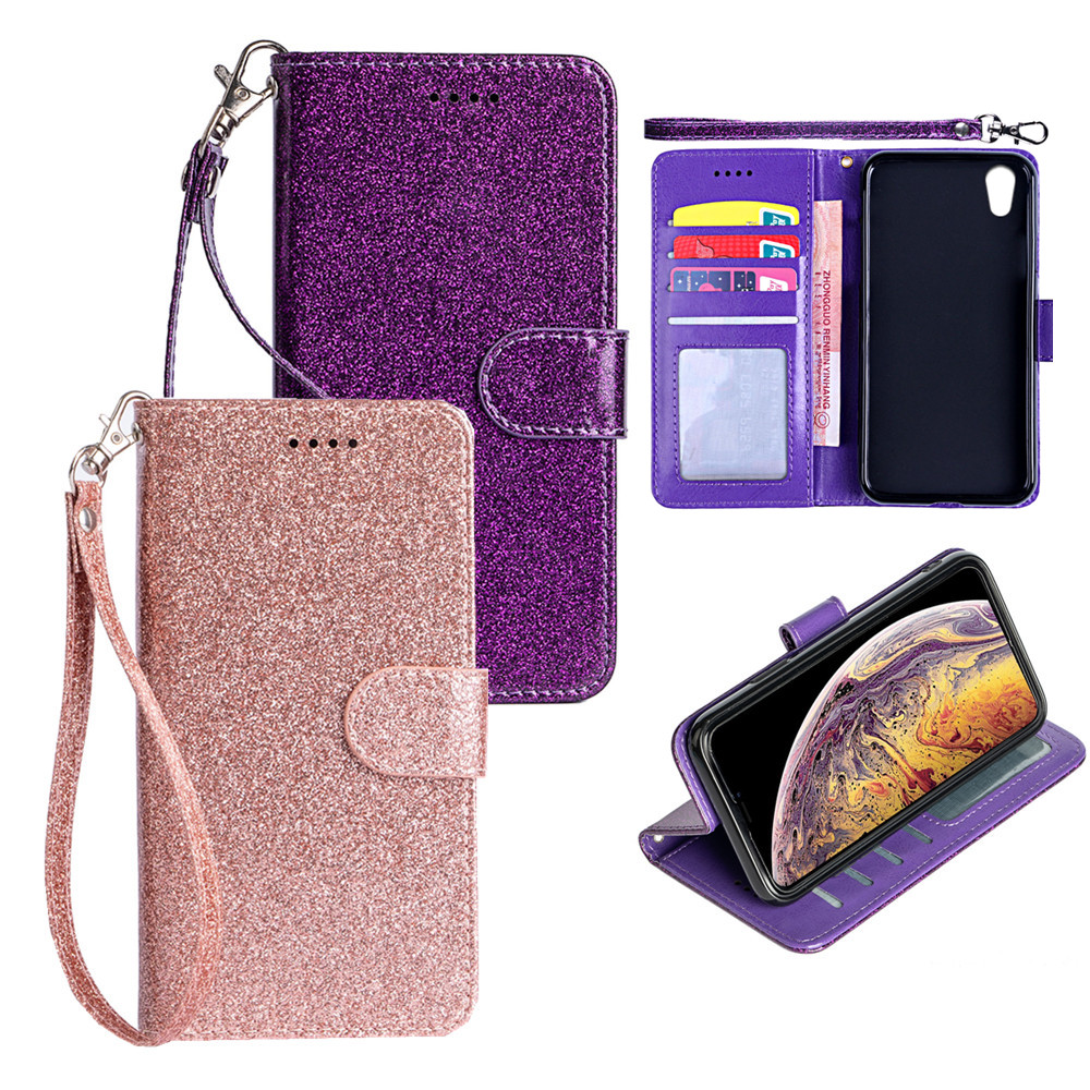 Flip Case For LG <strong>W10</strong> Bling Glitter Leather <strong>Phone</strong> Cover For Sharp AQUOS zero